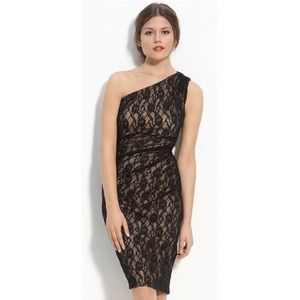Maggy London One Shoulder Black Lace Dress